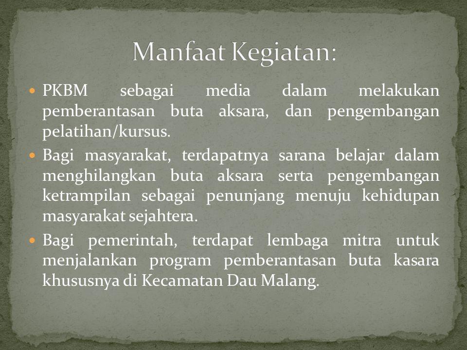 PKBM sebagai media dalam melakukan pemberantasan buta aksara, dan pengembangan pelatihan/kursus. Bagi masyarakat, terdapatnya sarana belajar dalam men