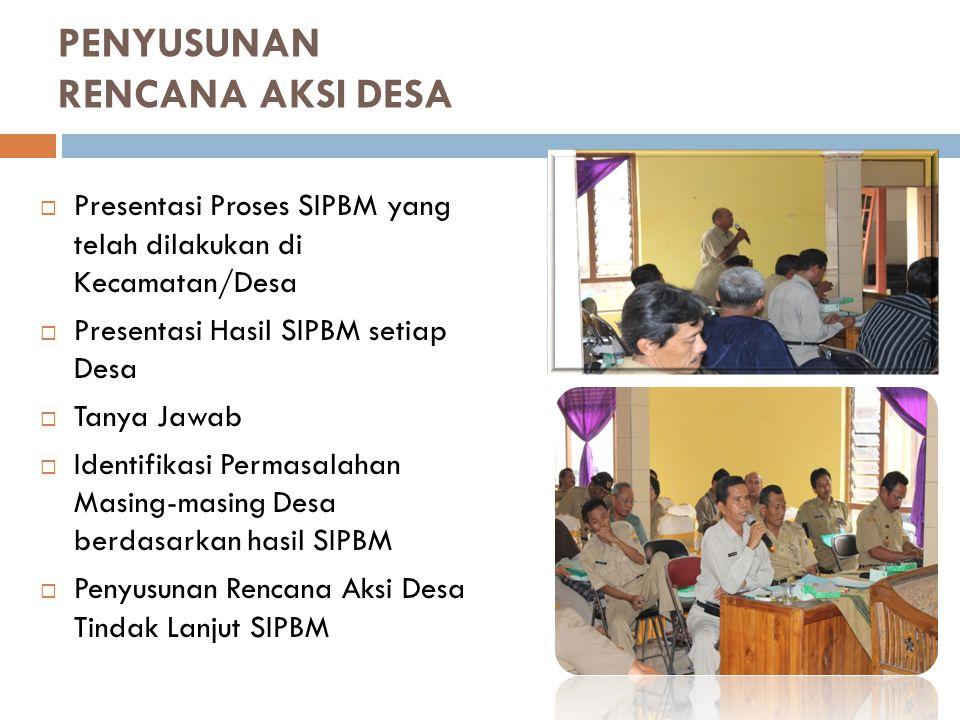 PENYUSUNAN RENCANA AKSI DESA  Presentasi Proses SIPBM yang telah dilakukan di Kecamatan/Desa  Presentasi Hasil SIPBM setiap Desa  Tanya Jawab  Ide