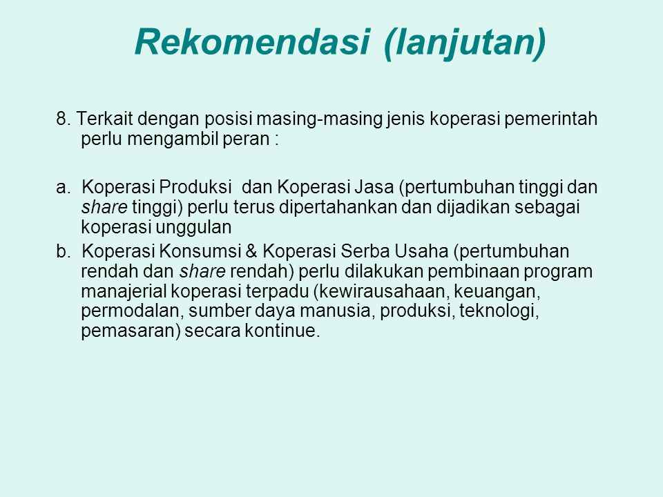 Rekomendasi (lanjutan) 8.