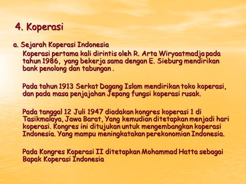4. Koperasi a. Sejarah Koperasi Indonesia Koperasi pertama kali dirintis oleh R. Arta Wiryaatmadja pada tahun 1986, yang bekerja sama dengan E. Siebur