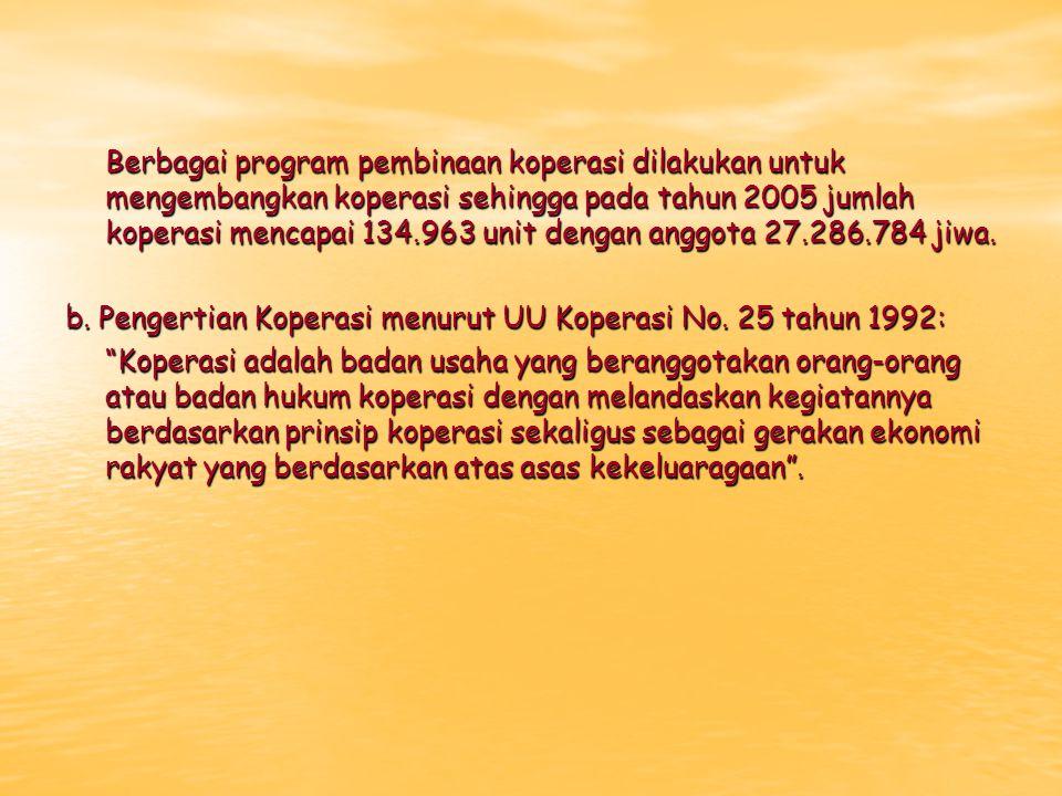 Berbagai program pembinaan koperasi dilakukan untuk mengembangkan koperasi sehingga pada tahun 2005 jumlah koperasi mencapai 134.963 unit dengan anggo