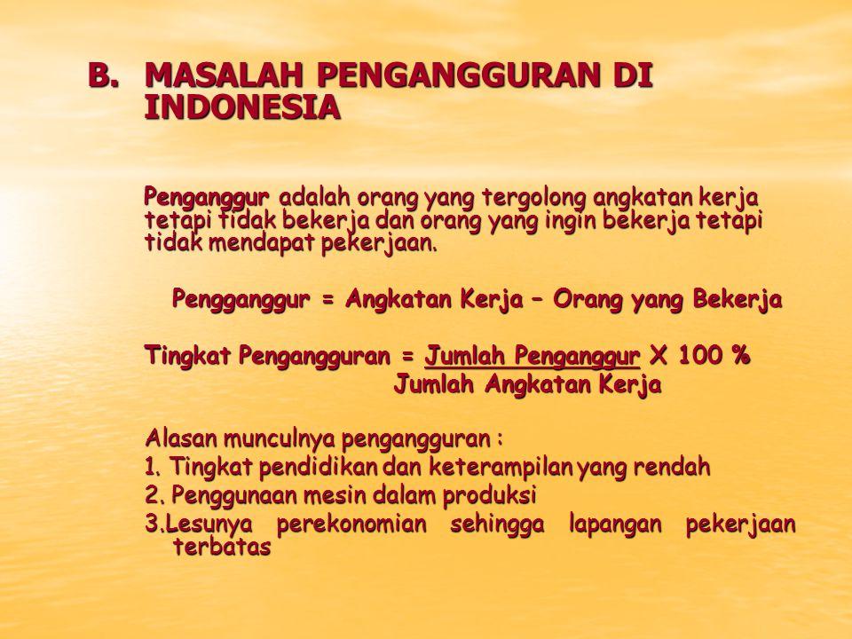 B.MASALAH PENGANGGURAN DI INDONESIA Penganggur adalah orang yang tergolong angkatan kerja tetapi tidak bekerja dan orang yang ingin bekerja tetapi tid