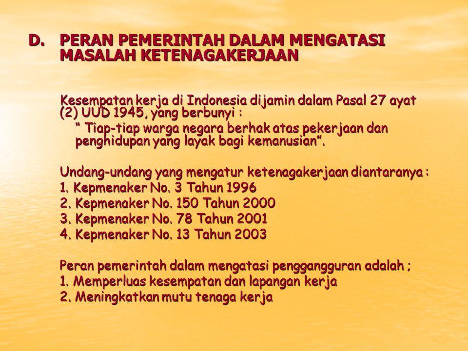 """D.PERAN PEMERINTAH DALAM MENGATASI MASALAH KETENAGAKERJAAN Kesempatan kerja di Indonesia dijamin dalam Pasal 27 ayat (2) UUD 1945, yang berbunyi : """" T"""