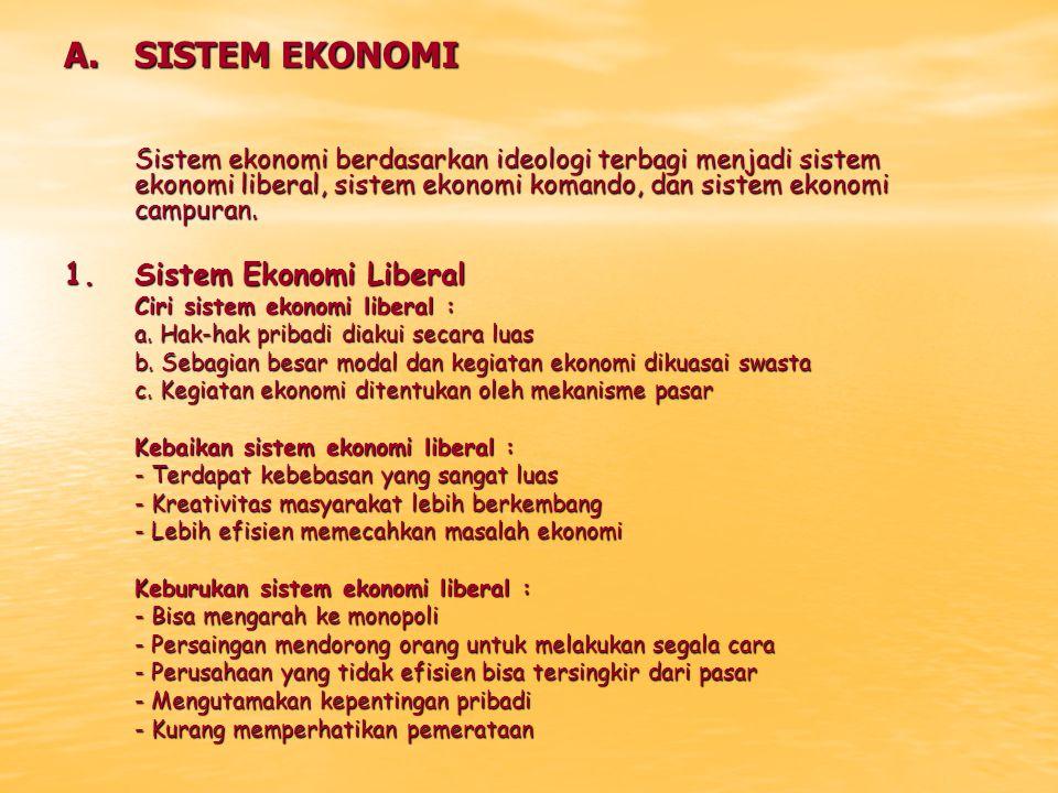 A.SISTEM EKONOMI Sistem ekonomi berdasarkan ideologi terbagi menjadi sistem ekonomi liberal, sistem ekonomi komando, dan sistem ekonomi campuran. 1.Si