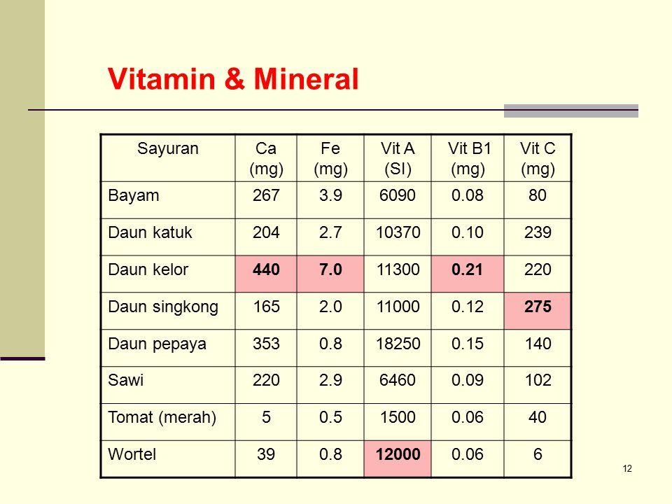 12 Vitamin & Mineral SayuranCa (mg) Fe (mg) Vit A (SI) Vit B1 (mg) Vit C (mg) Bayam2673.960900.0880 Daun katuk2042.7103700.10239 Daun kelor4407.011300