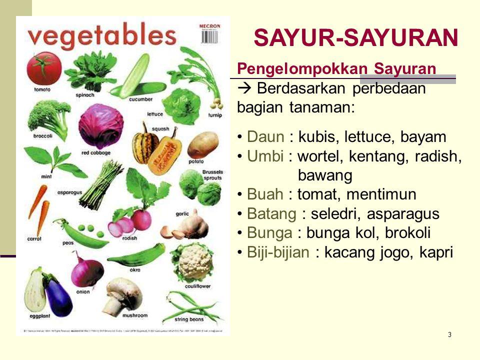 3 SAYUR-SAYURAN Daun : kubis, lettuce, bayam Umbi : wortel, kentang, radish, bawang Buah : tomat, mentimun Batang : seledri, asparagus Bunga : bunga k