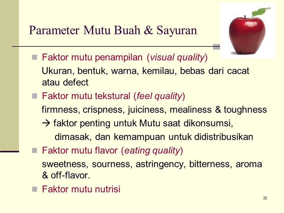 32 Parameter Mutu Buah & Sayuran Faktor mutu penampilan (visual quality) Ukuran, bentuk, warna, kemilau, bebas dari cacat atau defect Faktor mutu teks