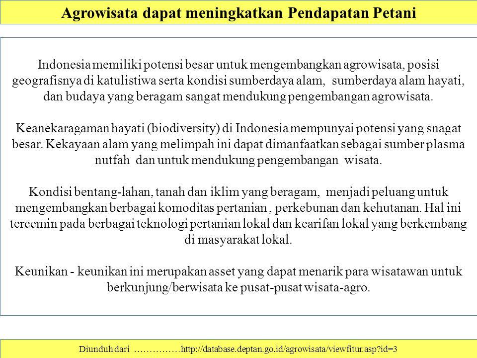 Diunduh dari ……………http://database.deptan.go.id/agrowisata/viewfitur.asp?id=3 Agrowisata dapat meningkatkan Pendapatan Petani Indonesia memiliki potens
