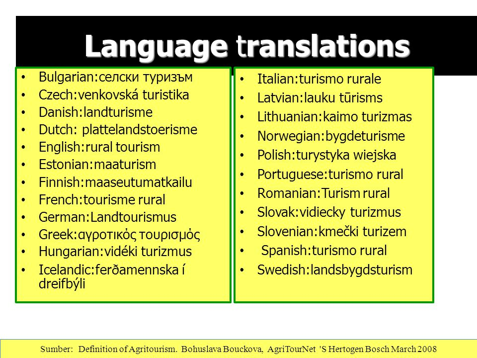 Language translations Bulgarian:селски туризъм Czech:venkovská turistika Danish:landturisme Dutch: plattelandstoerisme English:rural tourism Estonian: