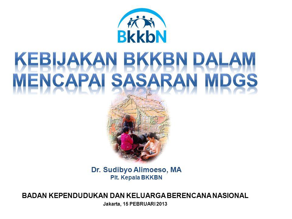 BADAN KEPENDUDUKAN DAN KELUARGA BERENCANA NASIONAL Jakarta, 15 PEBRUARI 2013 Dr. Sudibyo Alimoeso, MA Plt. Kepala BKKBN