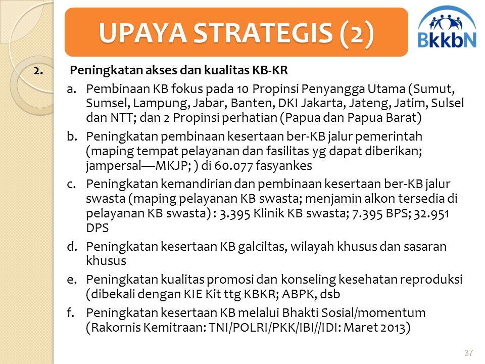 2. Peningkatan akses dan kualitas KB-KR a.Pembinaan KB fokus pada 10 Propinsi Penyangga Utama (Sumut, Sumsel, Lampung, Jabar, Banten, DKI Jakarta, Jat