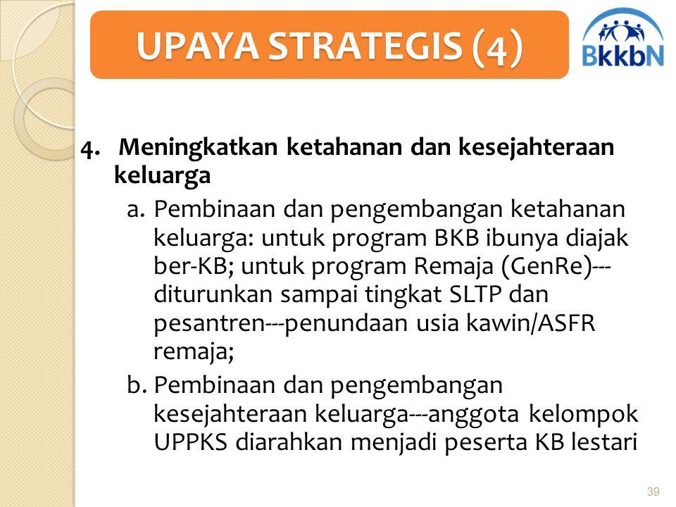4. Meningkatkan ketahanan dan kesejahteraan keluarga a.Pembinaan dan pengembangan ketahanan keluarga: untuk program BKB ibunya diajak ber-KB; untuk pr