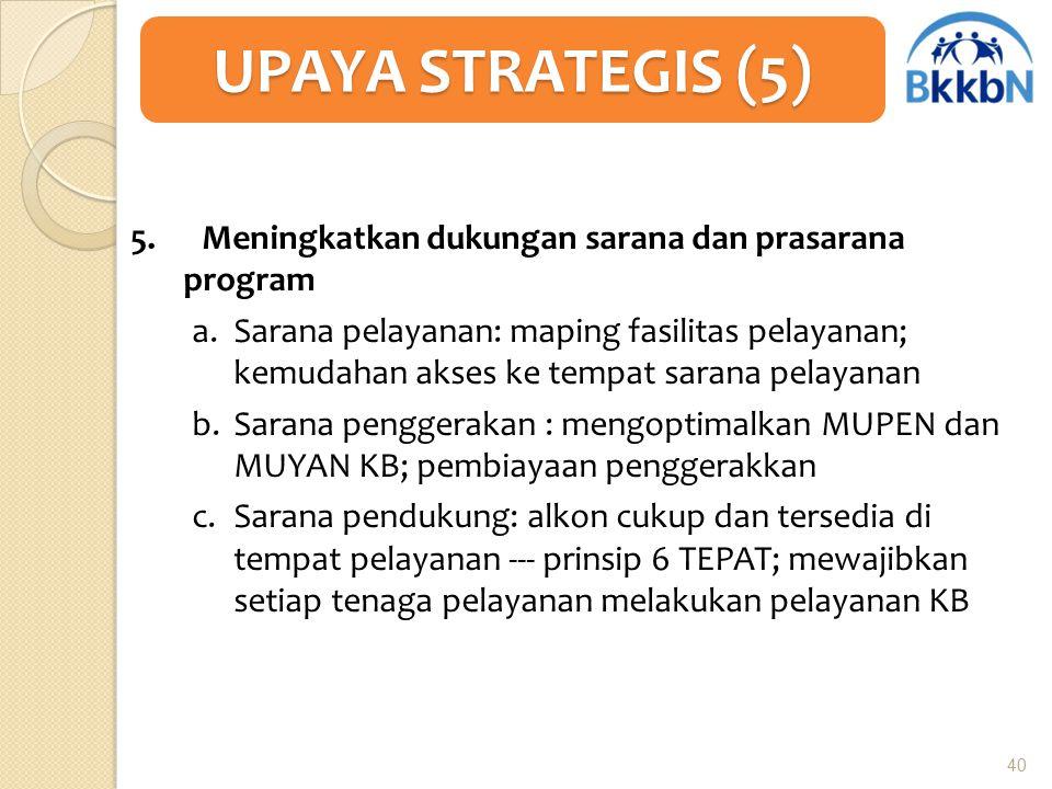 5. Meningkatkan dukungan sarana dan prasarana program a.Sarana pelayanan: maping fasilitas pelayanan; kemudahan akses ke tempat sarana pelayanan b.Sar