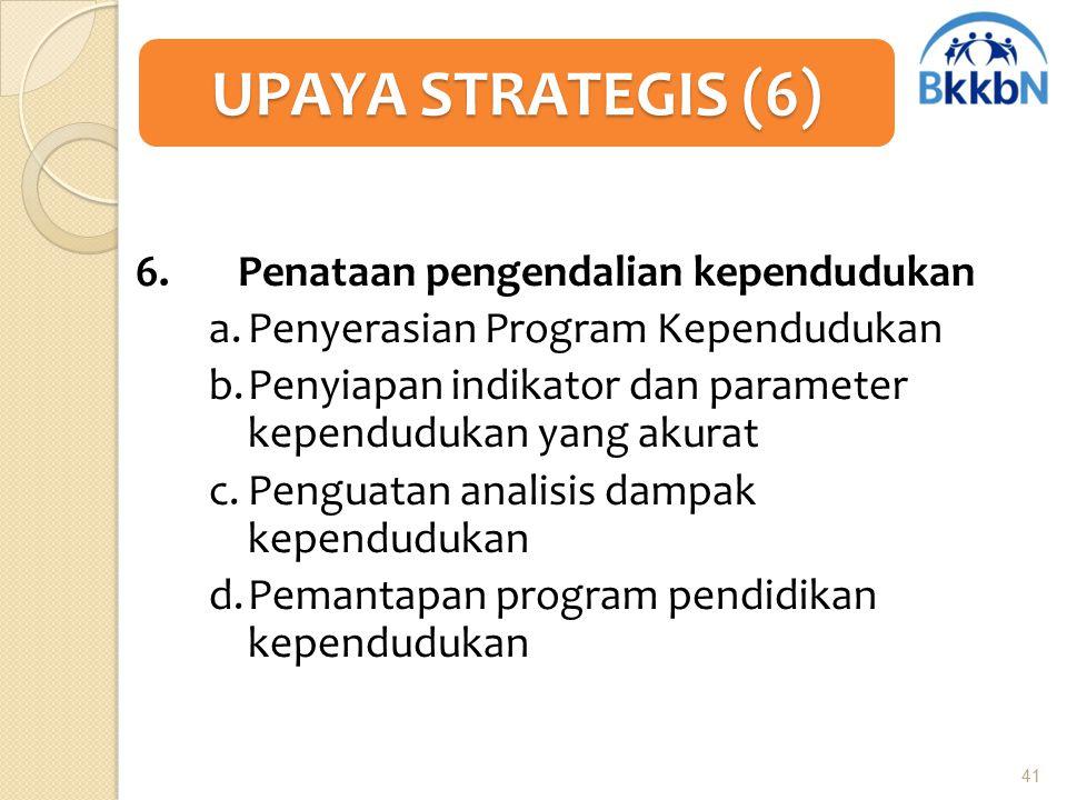 6. Penataan pengendalian kependudukan a.Penyerasian Program Kependudukan b.Penyiapan indikator dan parameter kependudukan yang akurat c.Penguatan anal