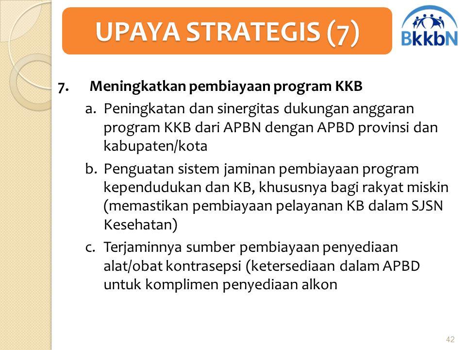 7. Meningkatkan pembiayaan program KKB a.Peningkatan dan sinergitas dukungan anggaran program KKB dari APBN dengan APBD provinsi dan kabupaten/kota b.