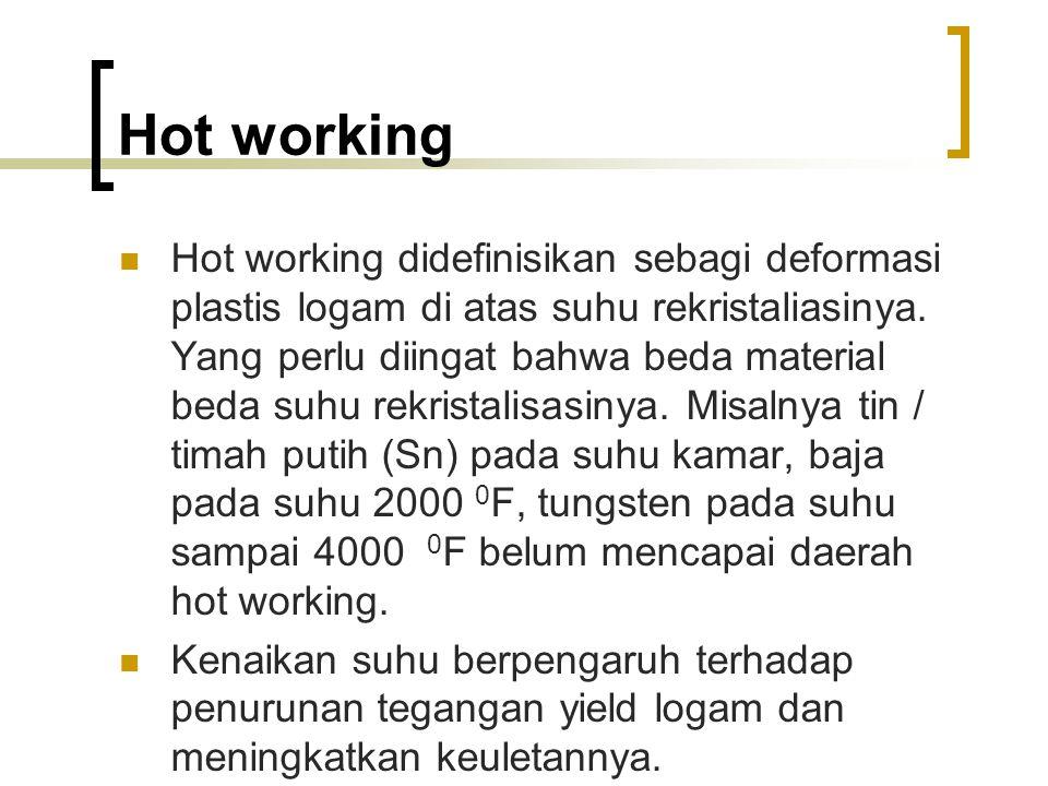Hot working Hot working didefinisikan sebagi deformasi plastis logam di atas suhu rekristaliasinya.