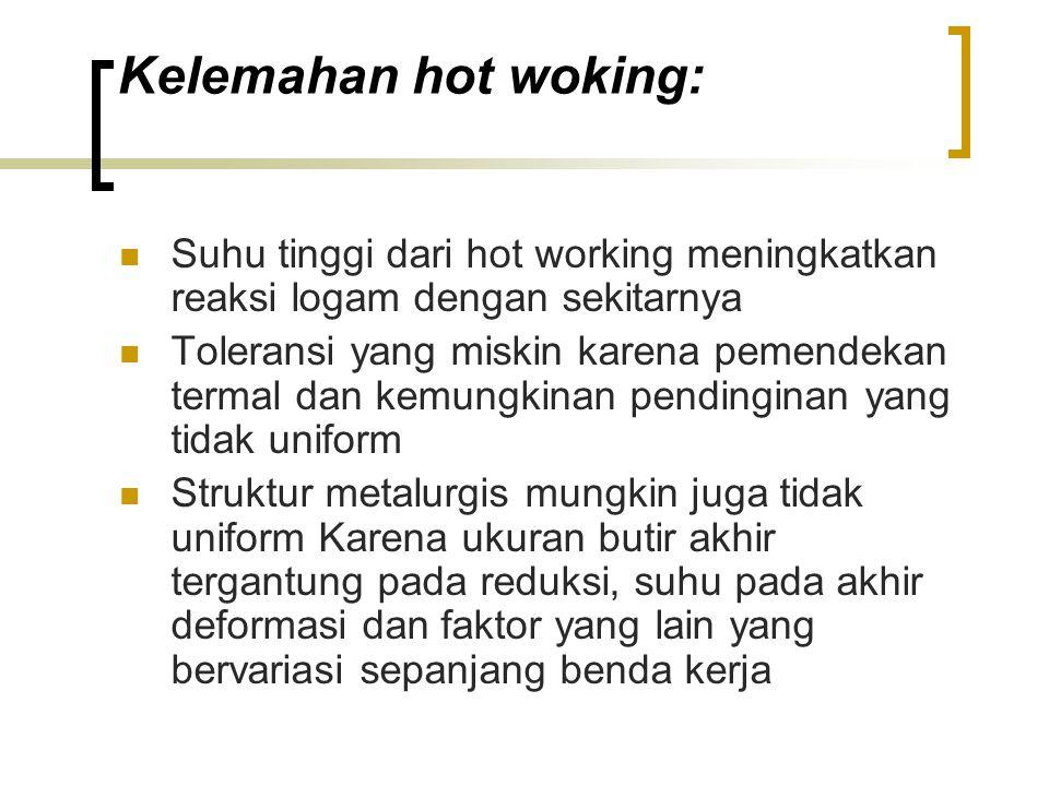 Kelemahan hot woking: Suhu tinggi dari hot working meningkatkan reaksi logam dengan sekitarnya Toleransi yang miskin karena pemendekan termal dan kemungkinan pendinginan yang tidak uniform Struktur metalurgis mungkin juga tidak uniform Karena ukuran butir akhir tergantung pada reduksi, suhu pada akhir deformasi dan faktor yang lain yang bervariasi sepanjang benda kerja