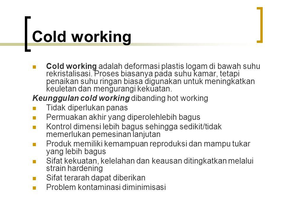 Cold working Cold working adalah deformasi plastis logam di bawah suhu rekristalisasi.