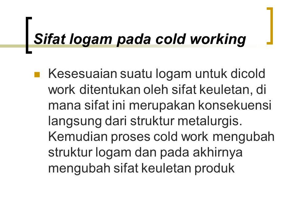 Sifat logam pada cold working Kesesuaian suatu logam untuk dicold work ditentukan oleh sifat keuletan, di mana sifat ini merupakan konsekuensi langsung dari struktur metalurgis.