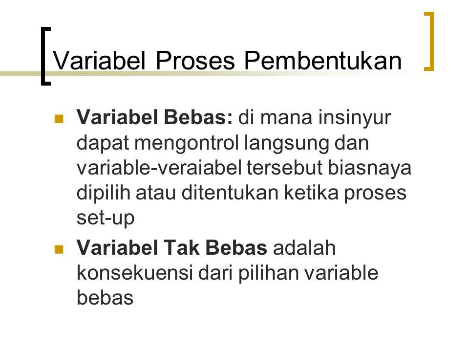 Variabel Proses Pembentukan Variabel Bebas: di mana insinyur dapat mengontrol langsung dan variable-veraiabel tersebut biasnaya dipilih atau ditentukan ketika proses set-up Variabel Tak Bebas adalah konsekuensi dari pilihan variable bebas