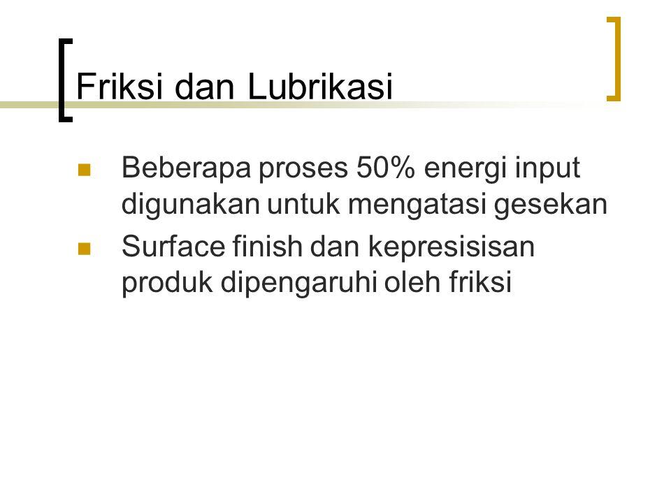 Friksi dan Lubrikasi Beberapa proses 50% energi input digunakan untuk mengatasi gesekan Surface finish dan kepresisisan produk dipengaruhi oleh friksi