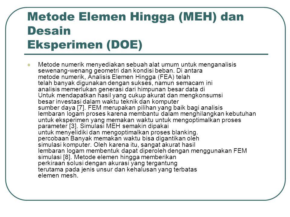 Metode Elemen Hingga (MEH) dan Desain Eksperimen (DOE) Metode numerik menyediakan sebuah alat umum untuk menganalisis sewenang-wenang geometri dan kon