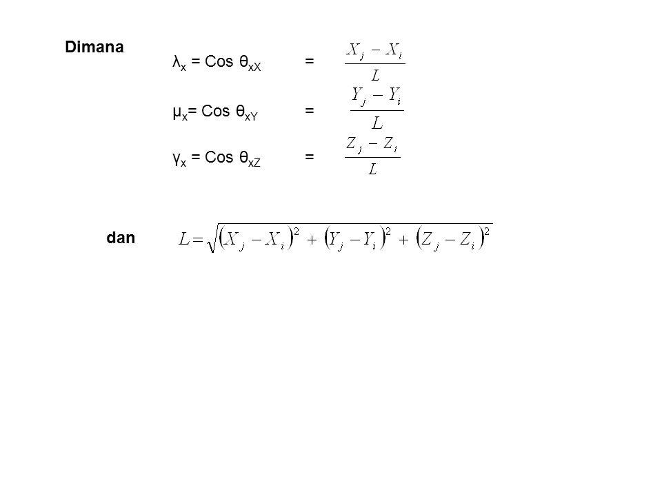 Dimana dan λ x = Cos θ xX = μ x = Cos θ xY = γ x = Cos θ xZ =