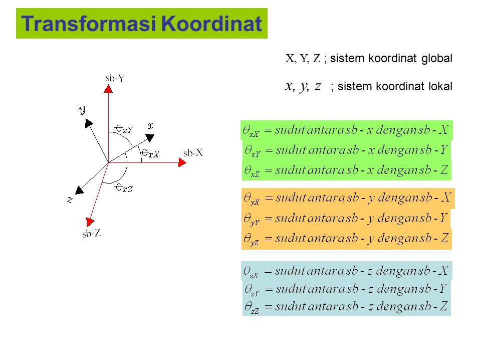 Batang-1 (node-i = 1 ; node-j = 3) E = 2.100 kg/cm 2 A = 20 cm 2 L = 500 cm maka diperoleh ; AE/L = 84 kg/cm λ x =cos θ xX = cos 90 = 0 μ x =cos θ xY = 4/5 = 0.8 v x =cos θ xZ = 3/5 = 0.6