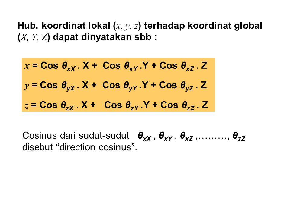 Untuk penyederhanaan penulisan, dipakai notasi baru sbb : l x = cos θ xX m x = cos θ xY n x = cos θ xZ l y = cos θ yX m y = cos θ yY n y = cos θ yZ l z = cos θ zX m z = cos θ zY n z = cos θ zZ Sehingga hubungan antara x,y,z dengan X, Y, Z ditulis dalam bentuk pers.matriks sbb :