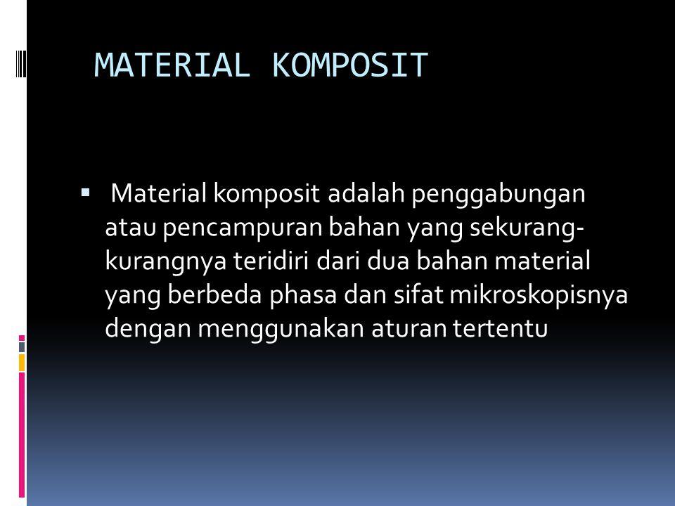 MATERIAL KOMPOSIT  Material komposit adalah penggabungan atau pencampuran bahan yang sekurang- kurangnya teridiri dari dua bahan material yang berbed