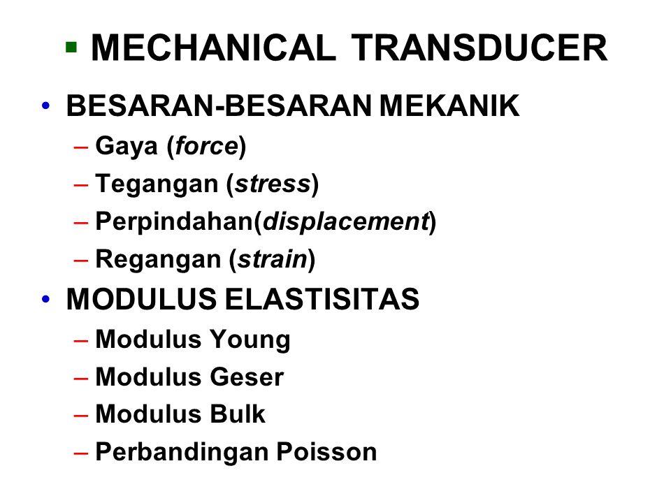  MECHANICAL TRANSDUCER BESARAN-BESARAN MEKANIK –Gaya (force) –Tegangan (stress) –Perpindahan(displacement) –Regangan (strain) MODULUS ELASTISITAS –Mo