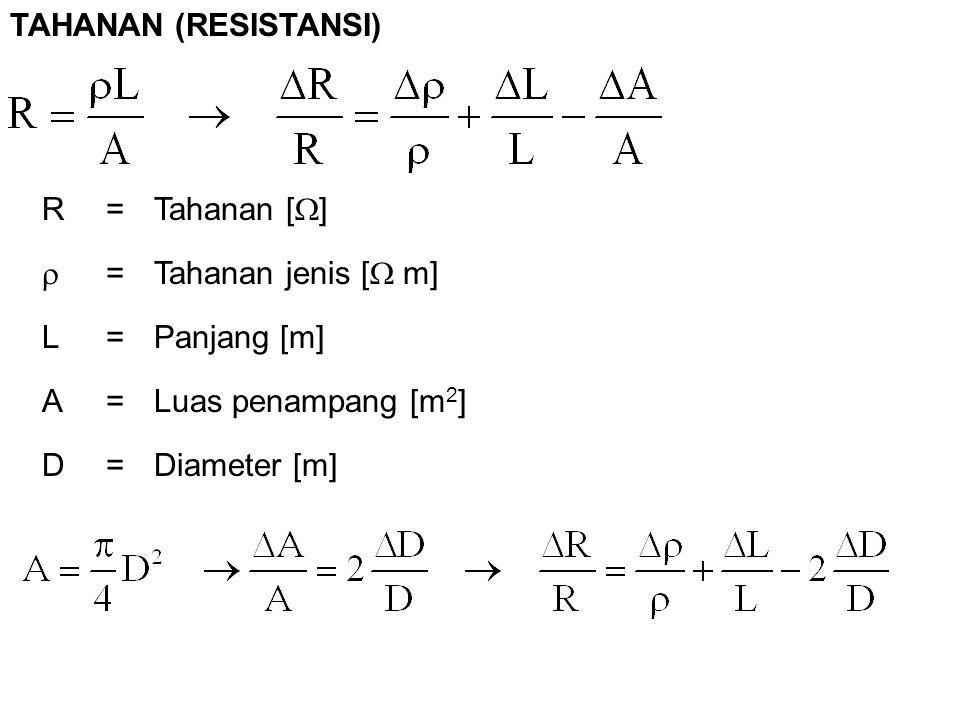 R= Tahanan [  ]  = Tahanan jenis [  m] L=Panjang [m] A=Luas penampang [m 2 ] D=Diameter [m] TAHANAN (RESISTANSI)