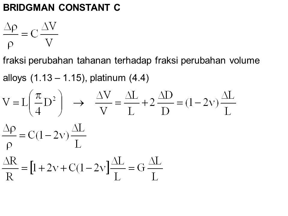 fraksi perubahan tahanan terhadap fraksi perubahan volume alloys (1.13 – 1.15), platinum (4.4) BRIDGMAN CONSTANT C