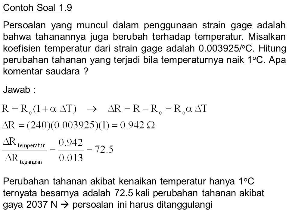 Contoh Soal 1.9 Persoalan yang muncul dalam penggunaan strain gage adalah bahwa tahanannya juga berubah terhadap temperatur. Misalkan koefisien temper