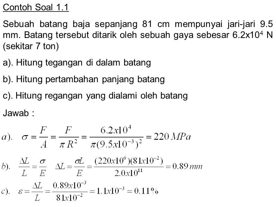 Contoh Soal 1.1 Sebuah batang baja sepanjang 81 cm mempunyai jari-jari 9.5 mm. Batang tersebut ditarik oleh sebuah gaya sebesar 6.2x10 4 N (sekitar 7
