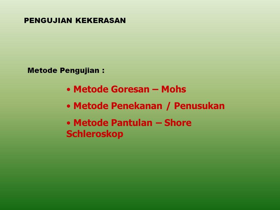 PENGUJIAN KEKERASAN Metode Pengujian : Metode Goresan – Mohs Metode Penekanan / Penusukan Metode Pantulan – Shore Schleroskop