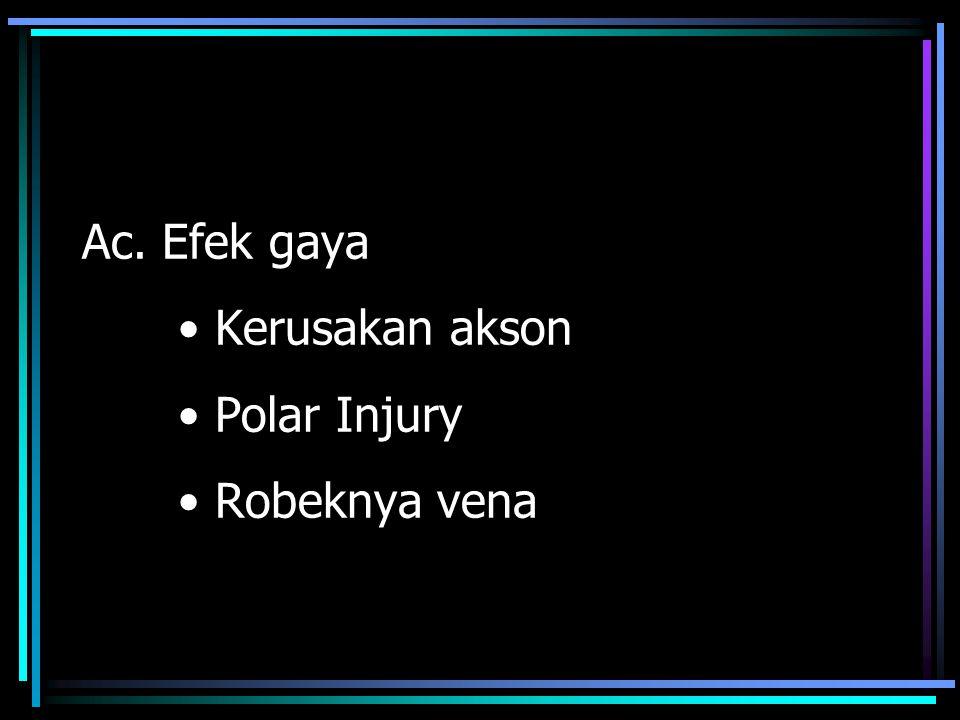 Ac. Efek gaya Kerusakan akson Polar Injury Robeknya vena