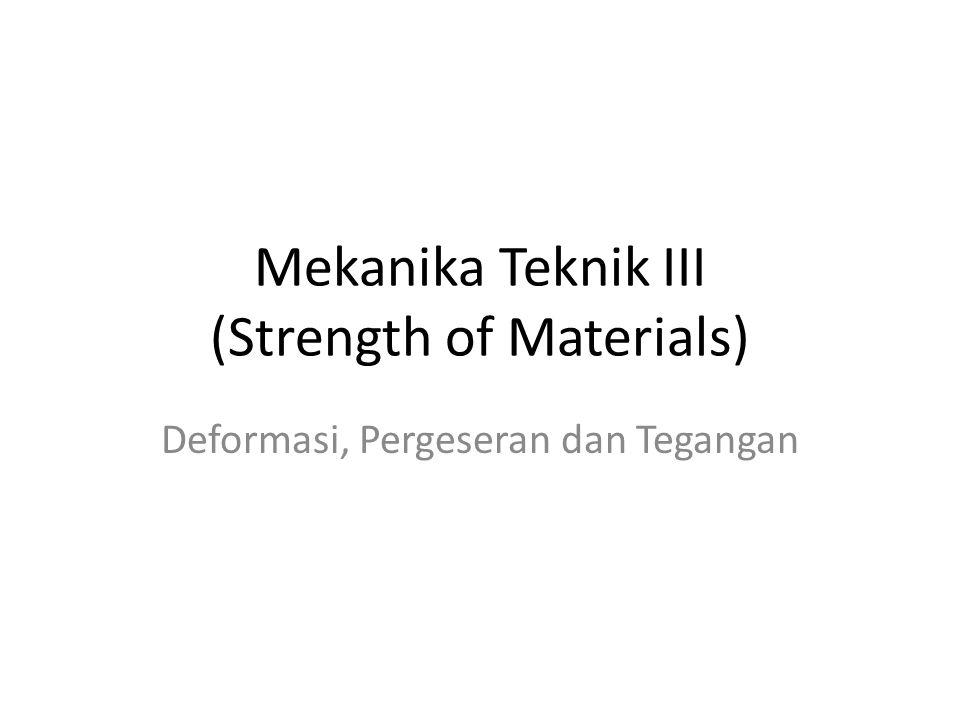 Mekanika Teknik III (Strength of Materials) Deformasi, Pergeseran dan Tegangan