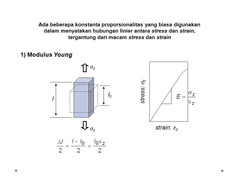 Ada beberapa konstanta proporsionalitas yang biasa digunakan dalam menyatakan hubungan linier antara stress dan strain, tergantung dari macam stress dan strain 1) Modulus Young l l0l0 strain:  z stress:  z zz zz