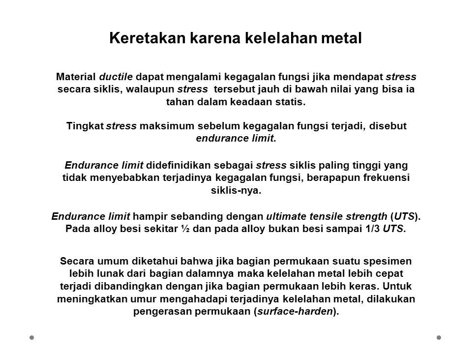Keretakan karena kelelahan metal Material ductile dapat mengalami kegagalan fungsi jika mendapat stress secara siklis, walaupun stress tersebut jauh d