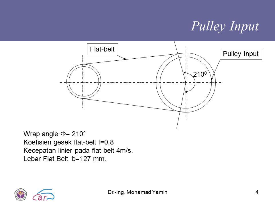 Dr.-Ing. Mohamad Yamin4 Pulley Input 210 0 Wrap angle Φ= 210° Koefisien gesek flat-belt f=0.8 Kecepatan linier pada flat-belt 4m/s. Lebar Flat Belt b=