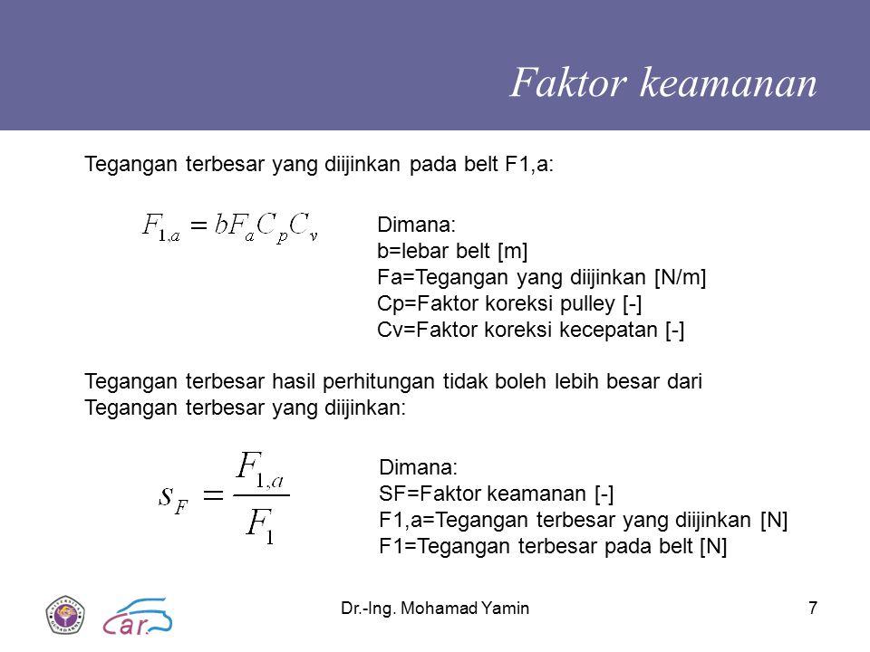 Dr.-Ing. Mohamad Yamin7 Faktor keamanan Tegangan terbesar yang diijinkan pada belt F1,a: Dimana: b=lebar belt [m] Fa=Tegangan yang diijinkan [N/m] Cp=