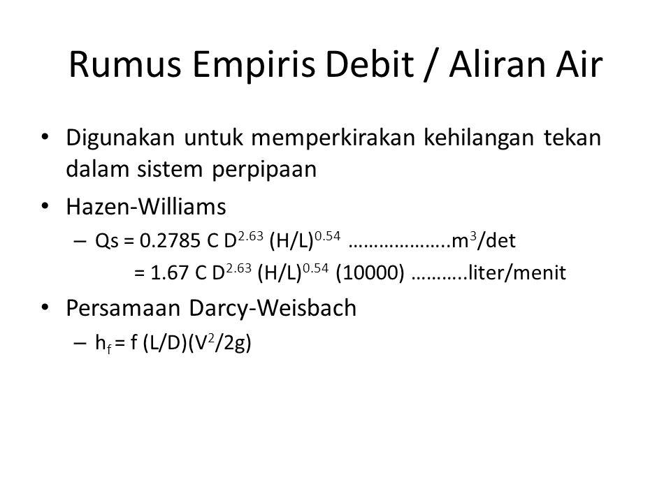 Rumus Empiris Debit / Aliran Air Digunakan untuk memperkirakan kehilangan tekan dalam sistem perpipaan Hazen-Williams – Qs = 0.2785 C D 2.63 (H/L) 0.54 ………………..m 3 /det = 1.67 C D 2.63 (H/L) 0.54 (10000) ………..liter/menit Persamaan Darcy-Weisbach – h f = f (L/D)(V 2 /2g)