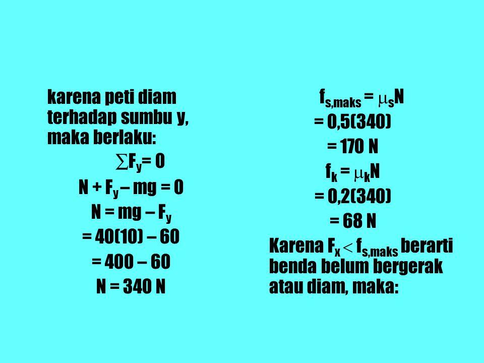 karena peti diam terhadap sumbu y, maka berlaku: ∑ F y = 0 N + F y – mg = 0 N = mg – F y = 40(10) – 60 = 400 – 60 N = 340 N f s,maks =  s N = 0,5(340) = 170 N f k =  k N = 0,2(340) = 68 N Karena F x  f s,maks berarti benda belum bergerak atau diam, maka: