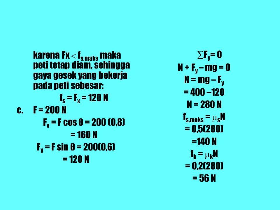 karena Fx  f s,maks maka peti tetap diam, sehingga gaya gesek yang bekerja pada peti sebesar: f s = F x = 120 N c.F = 200 N F x = F cos θ = 200 (0,8) = 160 N F y = F sin θ = 200(0,6) = 120 N ∑ F y = 0 N + F y – mg = 0 N = mg – F y = 400 –120 N = 280 N f s,maks =  s N = 0,5(280) =140 N f k =  k N = 0,2(280) = 56 N