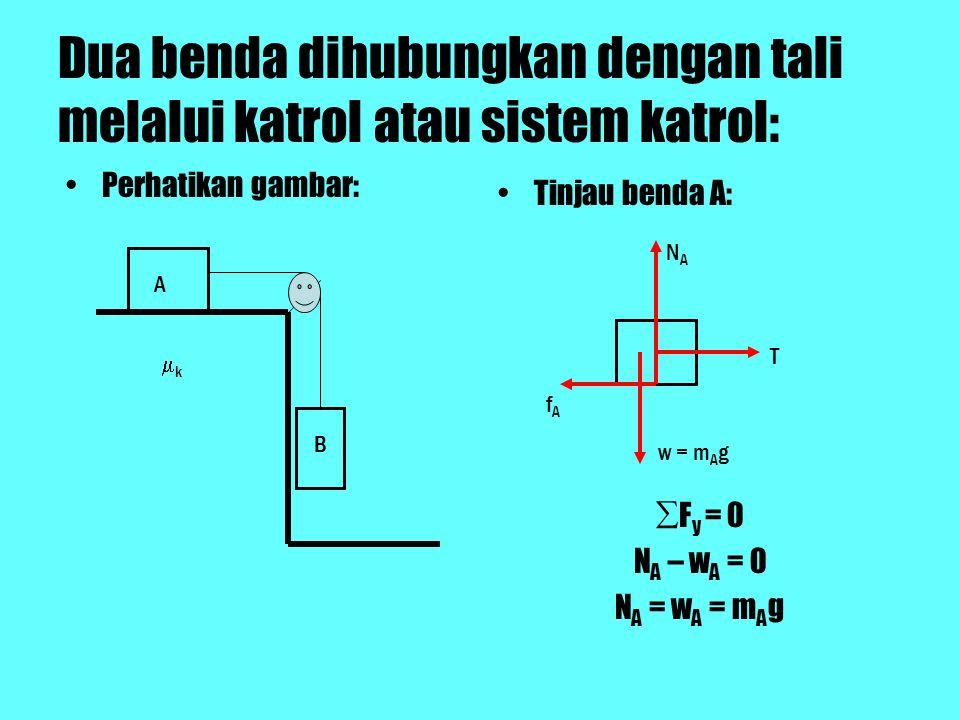 Dua benda dihubungkan dengan tali melalui katrol atau sistem katrol: Perhatikan gambar: Tinjau benda A: ∑F y = 0 N A – w A = 0 N A = w A = m A g A B kk NANA fAfA w = m A g T