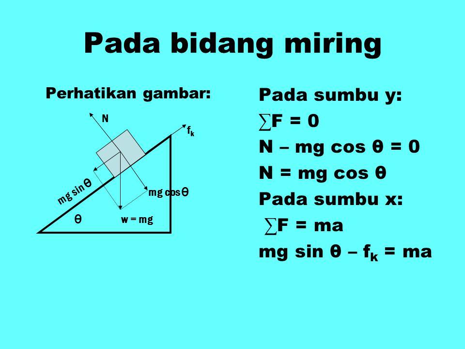 Pada bidang miring Perhatikan gambar: Pada sumbu y: ∑F = 0 N – mg cos θ = 0 N = mg cos θ Pada sumbu x: ∑F = ma mg sin θ – f k = ma N fkfk w = mg θ mg cos θ mg sin θ