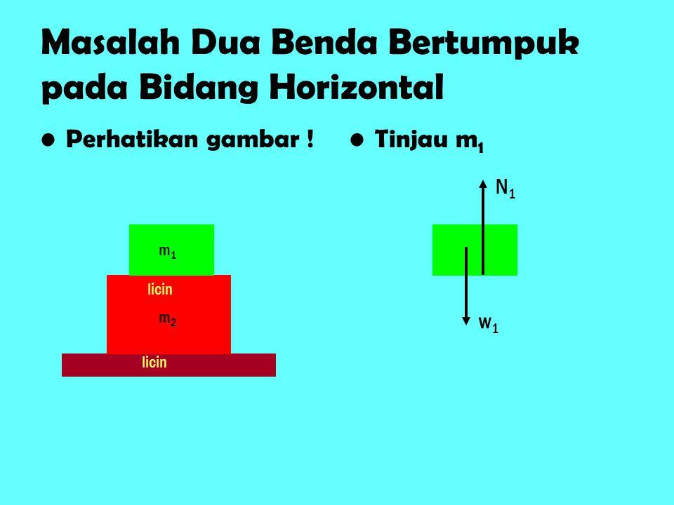 Masalah Dua Benda Bertumpuk pada Bidang Horizontal Perhatikan gambar .