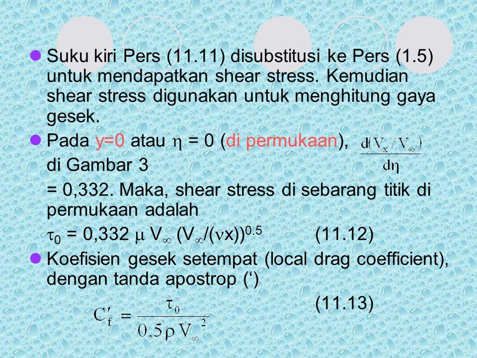 Suku kiri Pers (11.11) disubstitusi ke Pers (1.5) untuk mendapatkan shear stress. Kemudian shear stress digunakan untuk menghitung gaya gesek. Pada y=