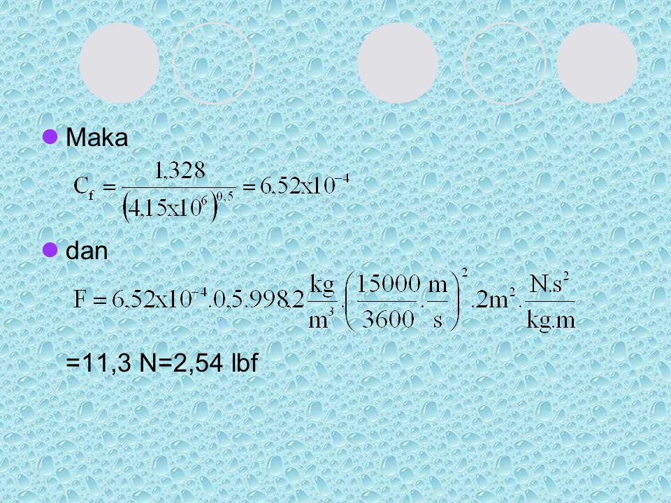 Maka dan =11,3 N=2,54 lbf